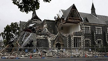 Buildings damaged are seen in Christchurch