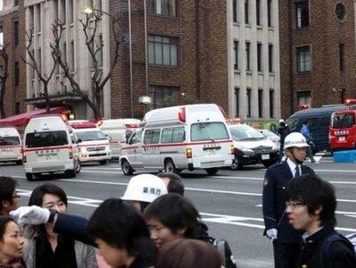 Ambulances gather outside Kudan Kaikan hall