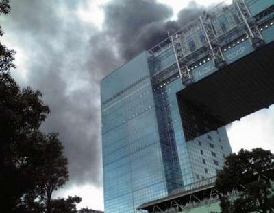Buildings burn after earthquake in Japan