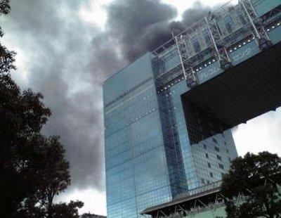 Buildings burn after earthquake in Japan