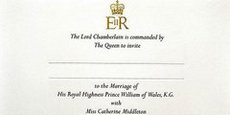 William and Kate's wedding invitation