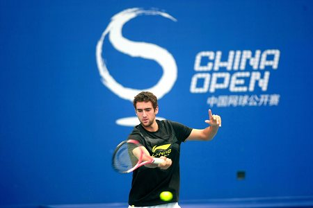 Croatian player Marin Cilic prepares for China Open