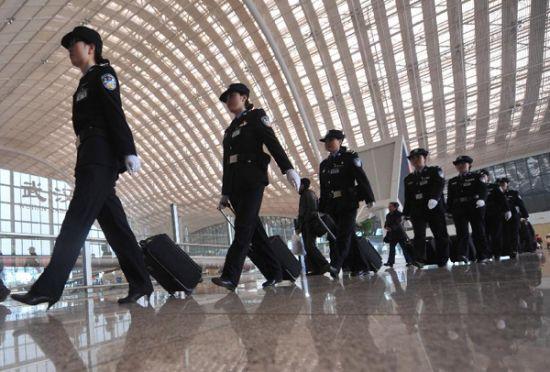 Policewomen undertake security duties on railway