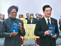 At summit end, Hu, Singh talk
