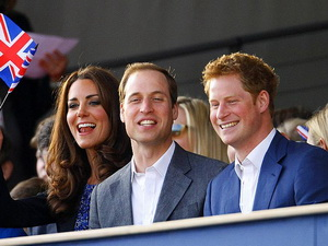 Cousins Harry and William and Kate were greeted by shouts upon their arrival.