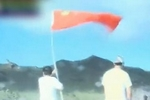 Taiwanese activists carrying national flag near Diaoyu Islands