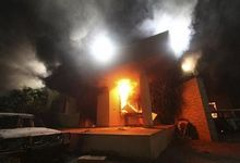 U.S. Consulate in Benghazi is seen in flames during a protest