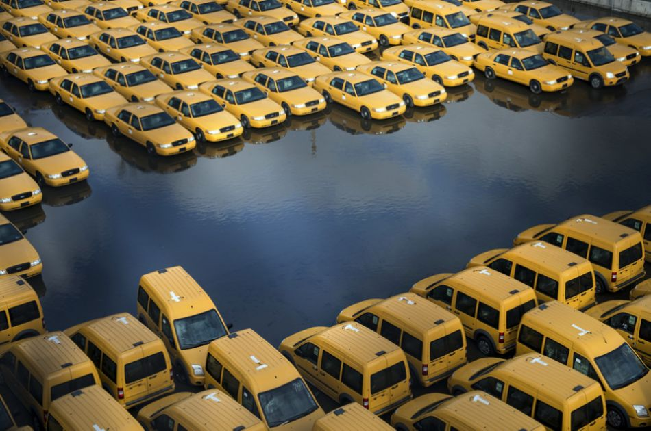Taxis seen after Sandy slams New Jersey